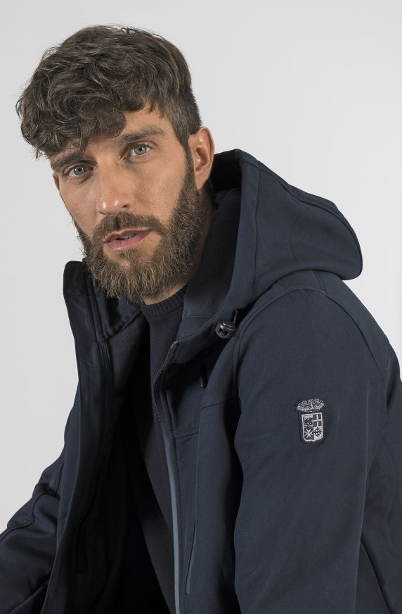 HODDED JACKET IN BONDED FABRIC
