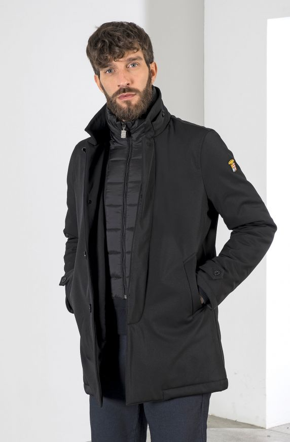 PADDED JACKET IN SOFTSHELL FABRIC